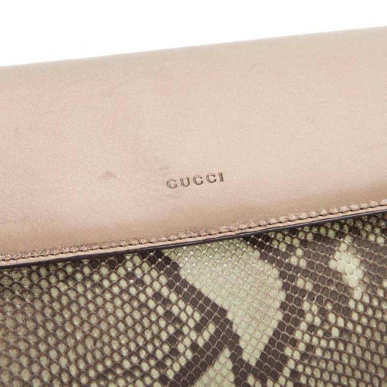 GUCCI Clutch in Green Bronze Colored Python For Sale 2