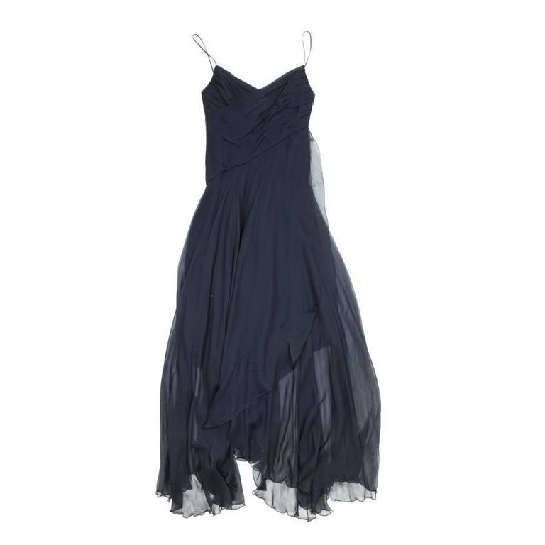 CHANEL Long and Flowing Dark Blue Silk Evening Dress Size 36EU