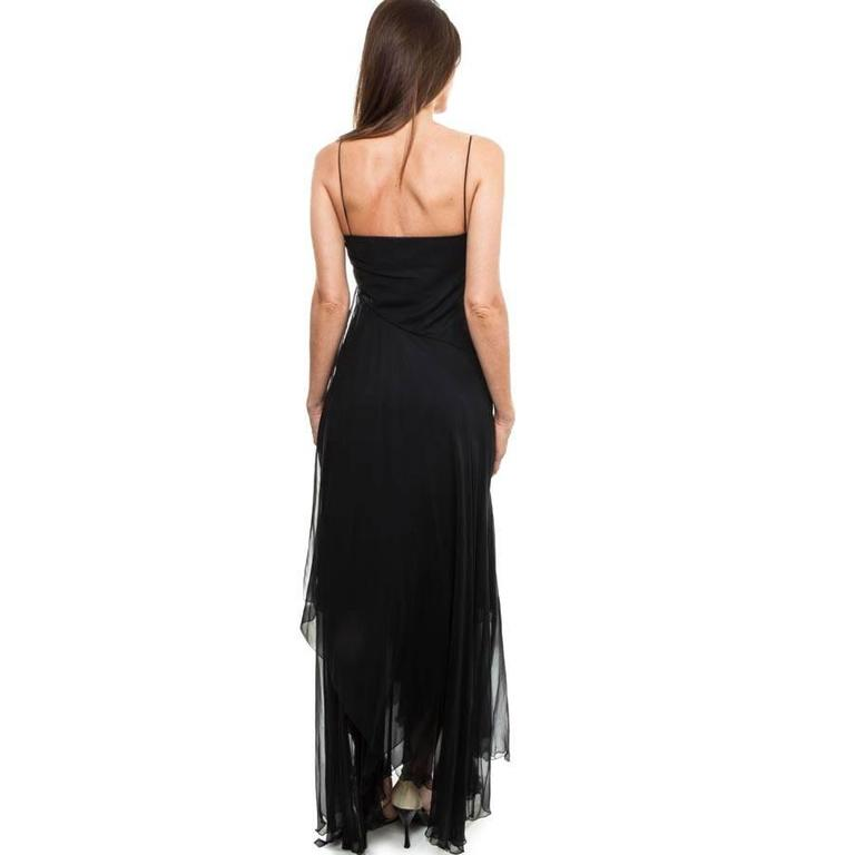 Black CHANEL Long and Flowing Dark Blue Silk Evening Dress Size 36EU For Sale