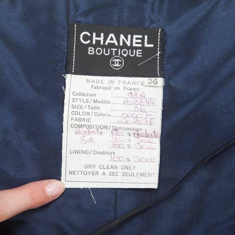 CHANEL Long and Flowing Dark Blue Silk Evening Dress Size 36EU For Sale 2