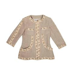 CHANEL Jacket Size 38FR in Beige Linen and Embroidery