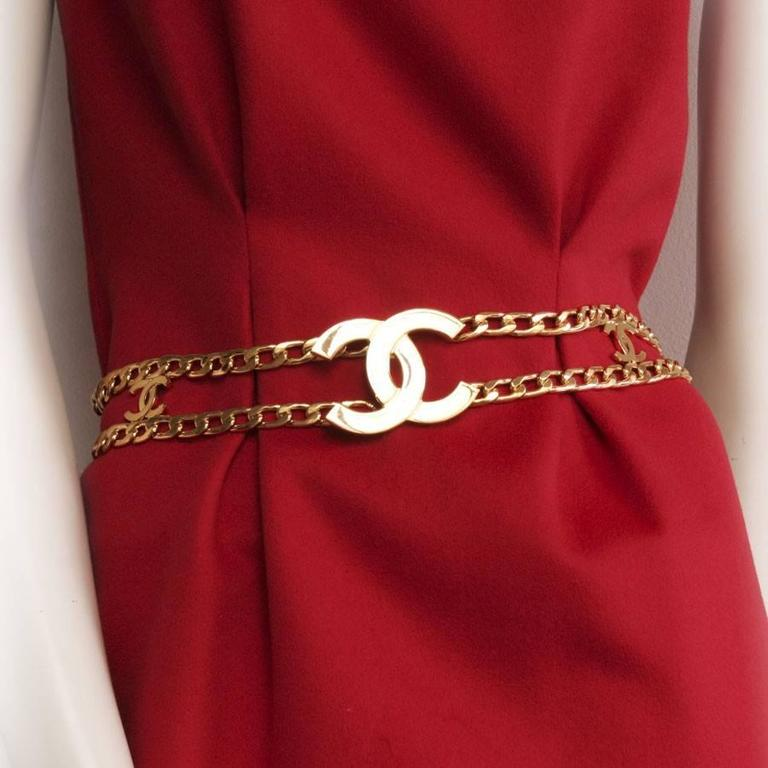 Belt CHANEL Size 70 FR Double Row of Gilded Metal Chain  In Excellent Condition For Sale In Paris, FR