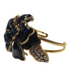 Haute Couture MARGUERITE de VALOIS Flower Cuff in Black Molten Glass
