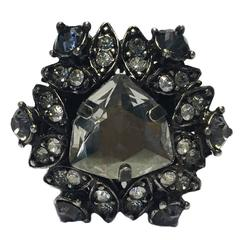 LANVIN Ring Size 52.5 in Silver Plated Metal and White and Pale Gold Rhinestones