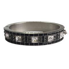 CHANEL rigid Cuff in Silver Plated Metal and Black and White Rhinestones