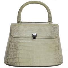 ASPREY Water Green and Light Brown Crocodile Bag