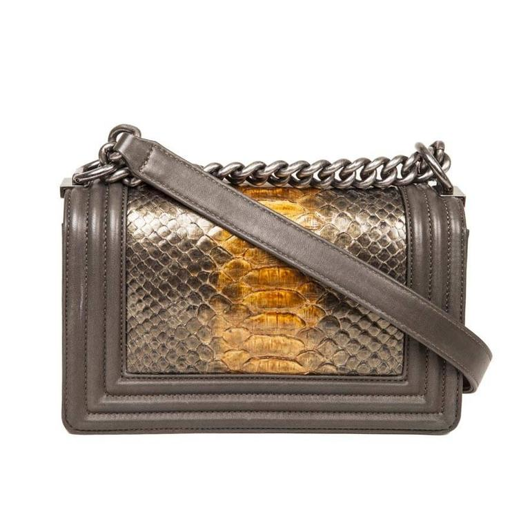 09224195c94f Brown CHANEL  Boy  Flap Bag in Kaki Lamb Leather and Green Bronze Python For