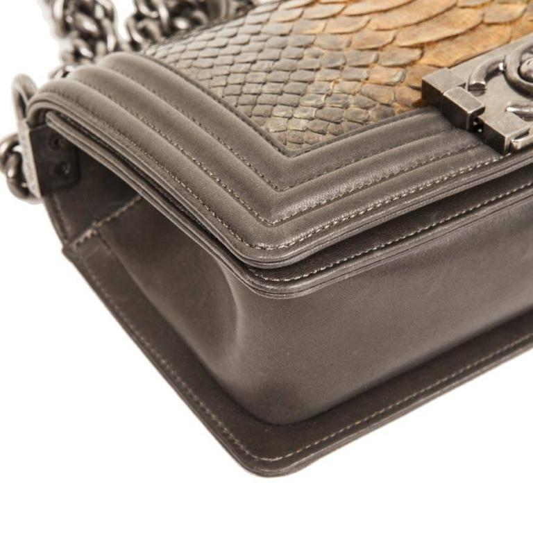 4f6073b6269e Women s CHANEL  Boy  Flap Bag in Kaki Lamb Leather and Green Bronze Python  For