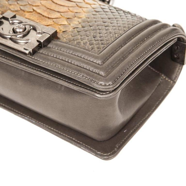d030667518e8 CHANEL  Boy  Flap Bag in Kaki Lamb Leather and Green Bronze Python For Sale