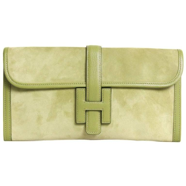 Hermes 'Jige' Green Anise Calf Doblis and Leather Clutch Bag