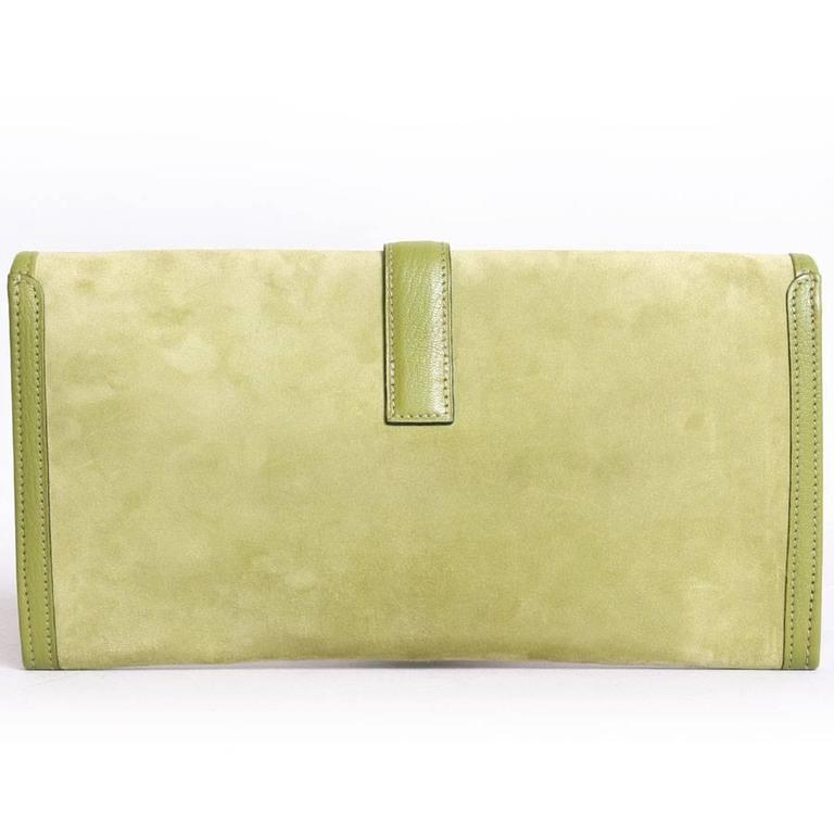 Hermes U0027Jigeu0027 In Green Anise Calf Doblis And Goat Leather Of The Same Color