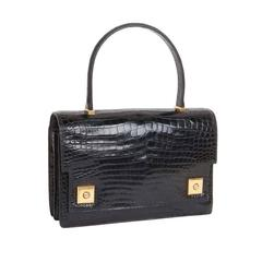 Vintage HERMES 'Piano' Flap Bag in Black Crocodile Porosus Leather