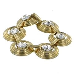 CHRISTIAN DIOR Bracelet in Gilt Metal set with Crystals
