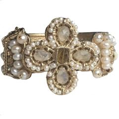 CHANEL 'Paris-Rome' Collection Cuff in Gilded Metal and Pearls