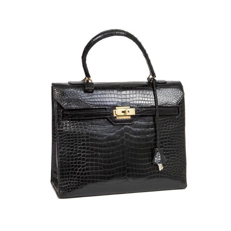 454ca48bc114 Very Rare  Monaco Hermès Bag in Black Crocodile Porosus Leather For Sale.  The ancestor of the Kelly ...