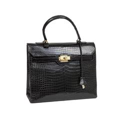 Very Rare 'Monaco'Hermès Bag in Black Crocodile Porosus Leather