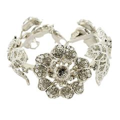 VALENTINO Garavani Rose Flower in Silver-Plated Metal and Rhinestone Cuff