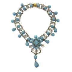 MARGUERITE DE VALOIS Necklace in Sky Blue Molten Glass and Gilt Metal