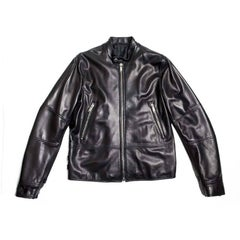"VALENTINO Jacket in Black Smooth Lamb Leather Embroidered ""Funky Dragon"""