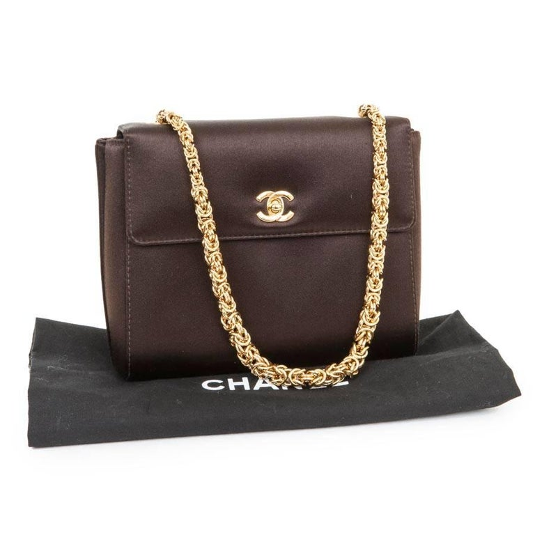 CHANEL Evening Bag in Brown Silk Satin 5