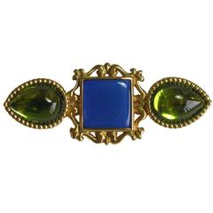 YSL SAINT LAURENT Vintage Brooch in Gilt Metal