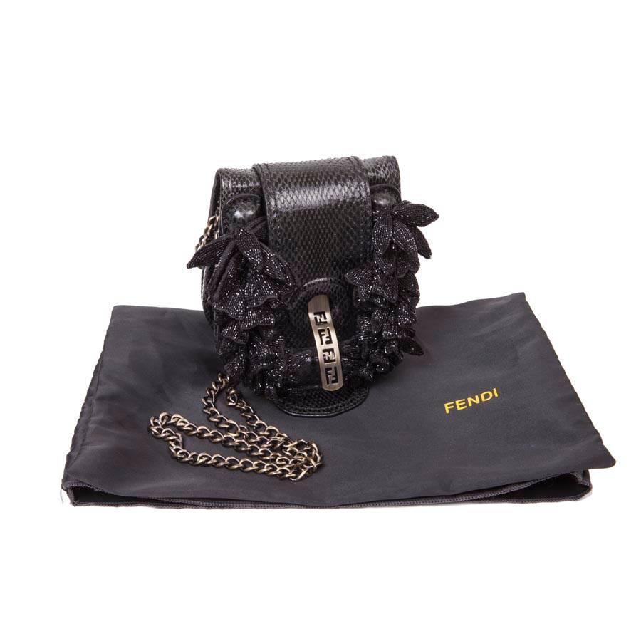0cb0308d55aa Collector Mini FENDI Flap Bag in Black Snake Leather For Sale at 1stdibs