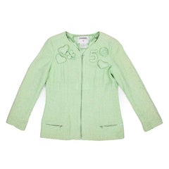 Collector CHANEL Jacket in Green Anise and Light Green Tweed Size 44FR