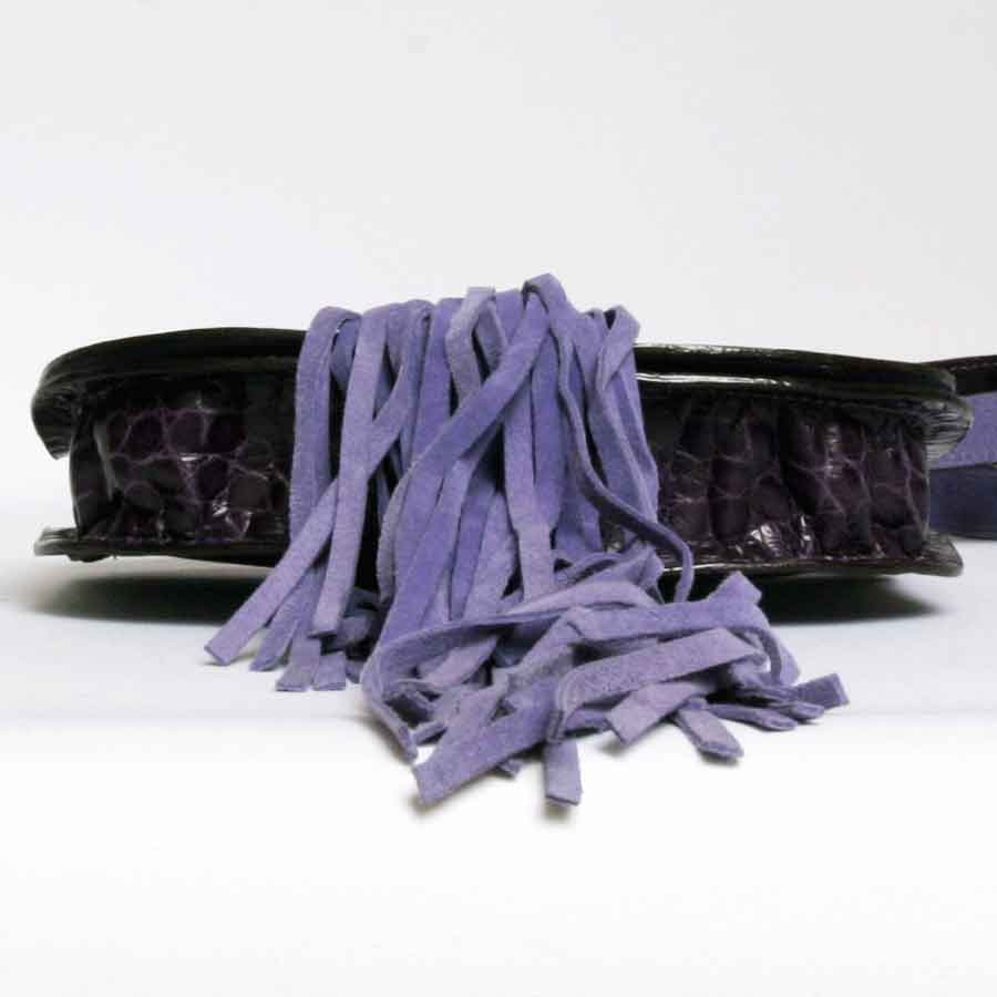 Balmain Bag In Purple Crocodile Leather And Lilac Suede Fringes 14IaWy
