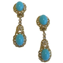 KENNETH JAY LANE Clip-on Earrings faux Turquoise, Rhinestone and Gilded Metal