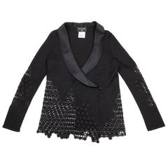 CHANEL Jacket Size 38FR in Black Viscose, Cotton Embroidered with Lace