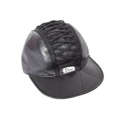 DIOR Black Leather Cap Size 57FR
