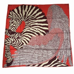HERMES 'Zebra Pegasus' Red Silk Scarf