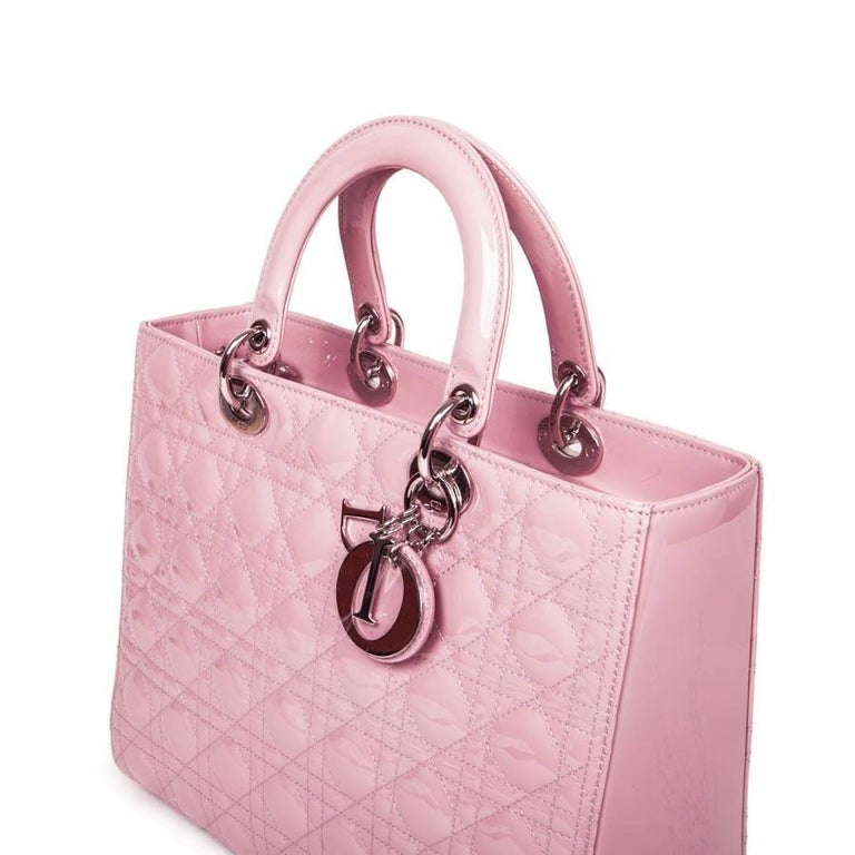 'Lady Dior' Handbag in Pastel Pink Patent Leather In New never worn Condition For Sale In Paris, FR
