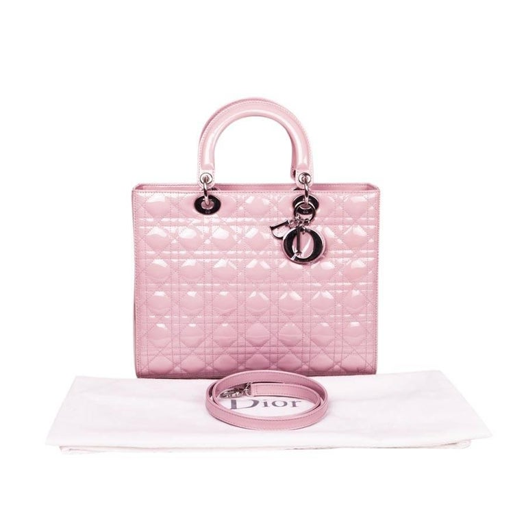'Lady Dior' Handbag in Pastel Pink Patent Leather For Sale 5