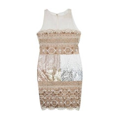 VALENTINO Evening Dress in Beige Silk Embroidered with Sequins and Pearls