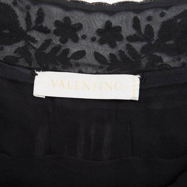 VALENTINO Black Silk Cocktail Dress Size 8US For Sale 1