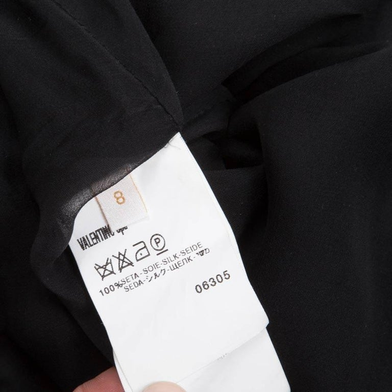 VALENTINO Black Silk Cocktail Dress Size 8US For Sale 2
