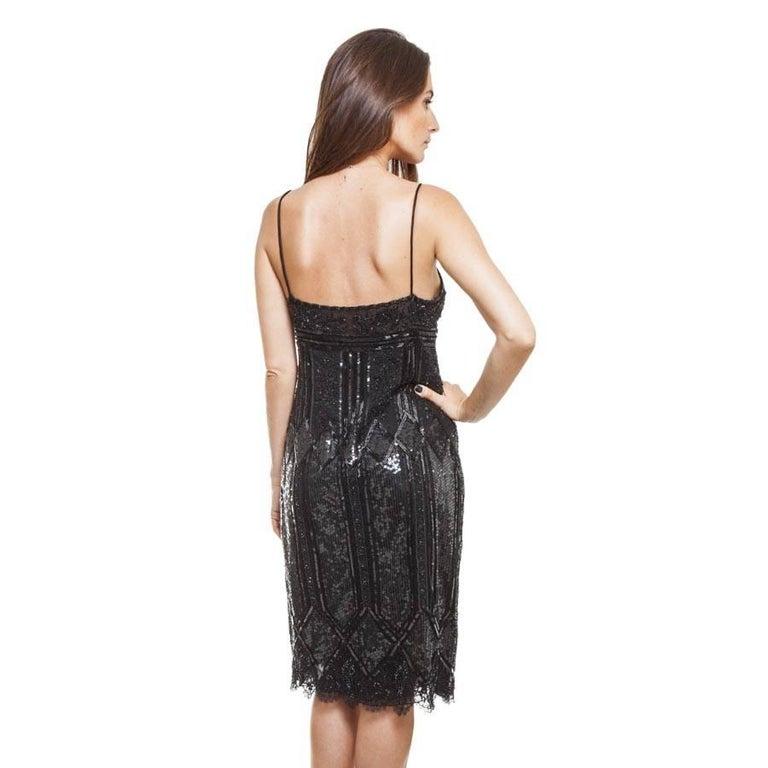 Women's VALENTINO Black Silk Cocktail Dress Size 8US For Sale