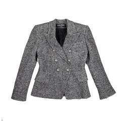 BALMAIN Jacket in Gray and Black Chevron Patterns Wool Size 40FR