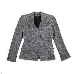 BALMAIN Jacket in Gray and Black Chevron Patterns Wool Size 40FR