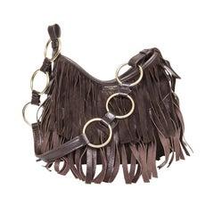 YVES SAINT LAURENT Fringed Bag in Brown Velvet Calfskin