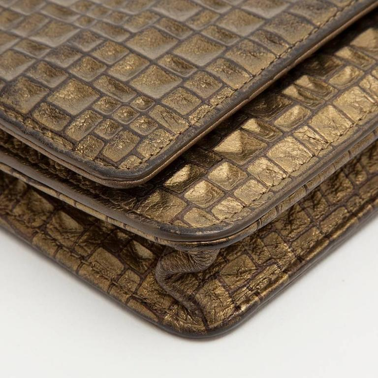 CHANEL Mini Flap Bag in Golden Aged Embossed Lamb Leather For Sale 1