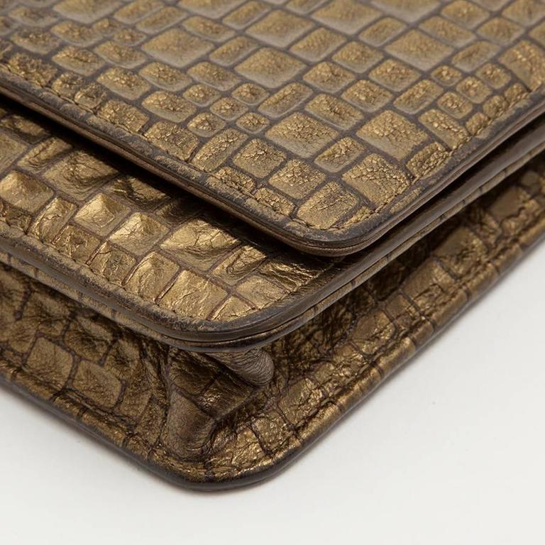 CHANEL Mini Flap Bag in Golden Aged Embossed Lamb Leather For Sale 2