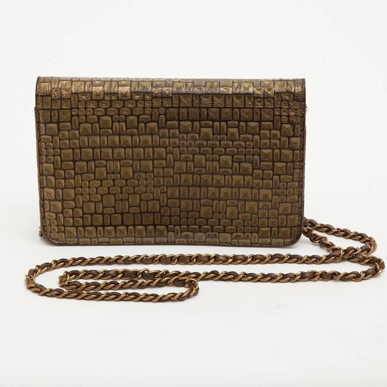 Brown CHANEL Mini Flap Bag in Golden Aged Embossed Lamb Leather For Sale