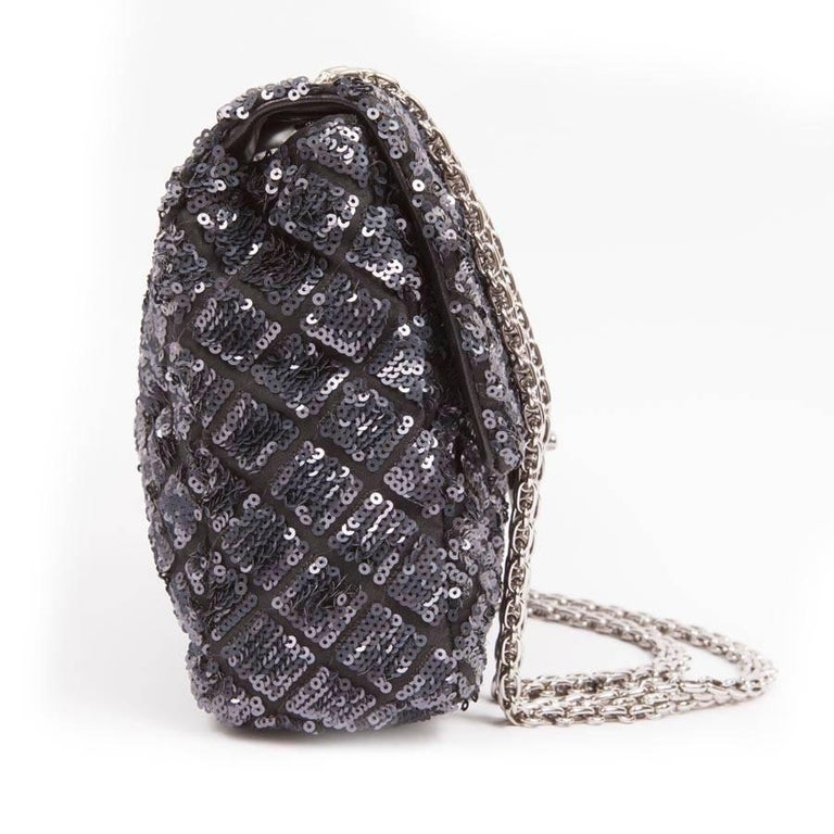 Women's CHANEL 'Timeless' Flap Bag in Blue Night Sequins For Sale