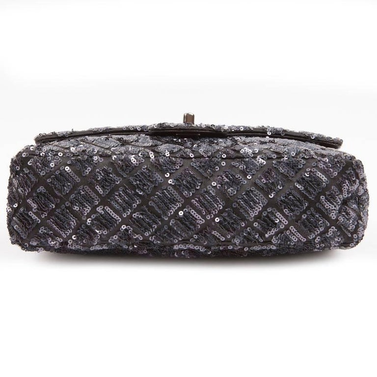 CHANEL 'Timeless' Flap Bag in Blue Night Sequins For Sale 1