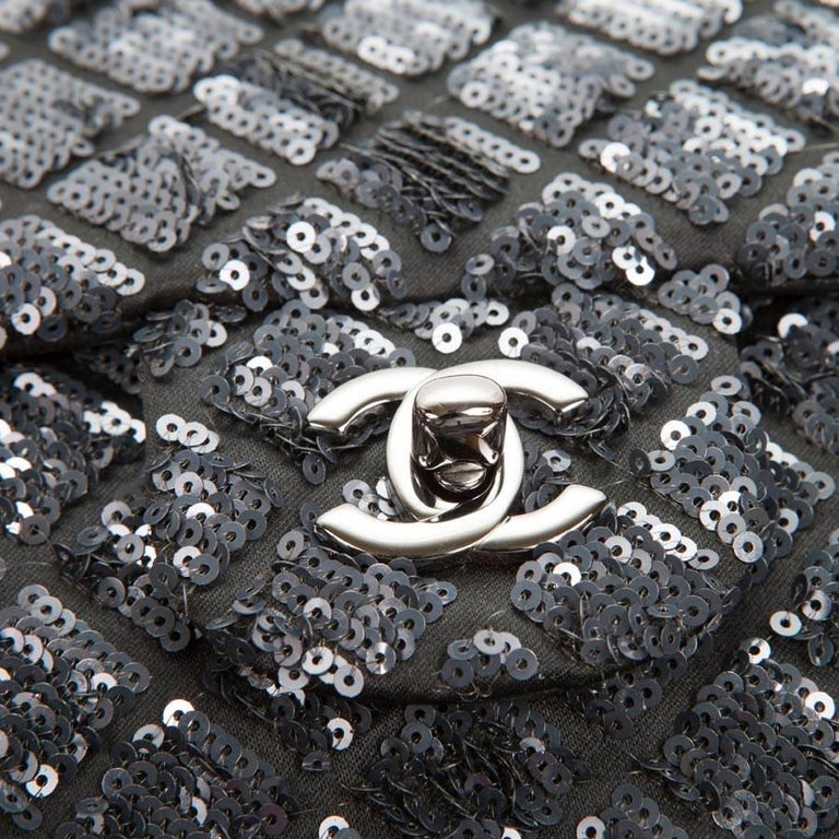Black CHANEL 'Timeless' Flap Bag in Blue Night Sequins For Sale