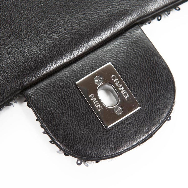 CHANEL 'Timeless' Flap Bag in Blue Night Sequins For Sale 4