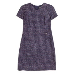 CHANEL Dress in Purple and Silver Tweed Size 42FR