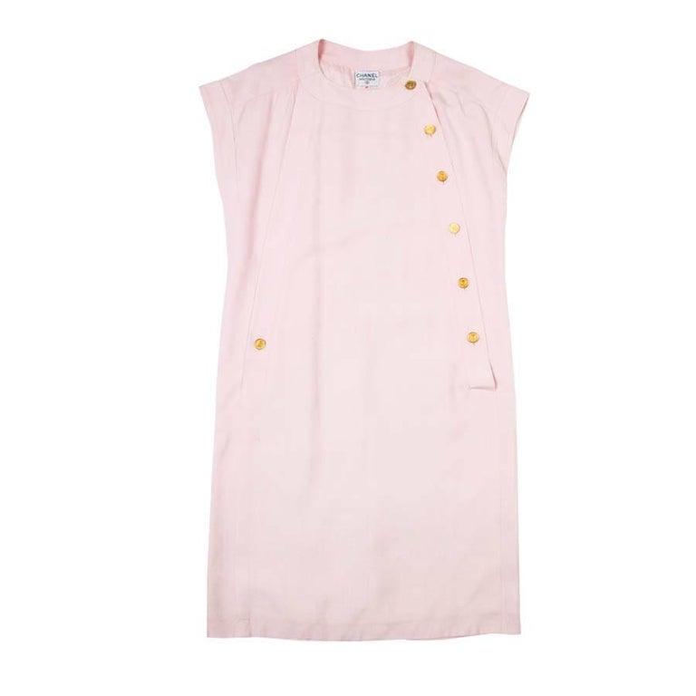 Elegant CHANEL Dress in Pink Cotton Size 40FR